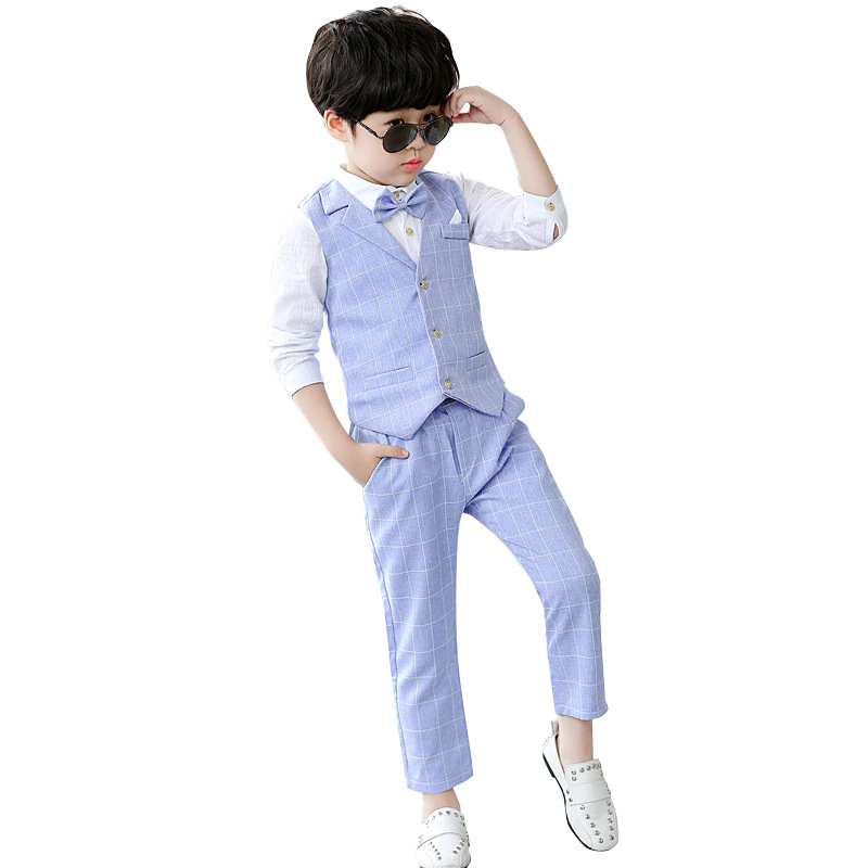 2019 Child Boy Wedding Suit Vest Shirt Pants 3 Pieces Kids Boy Suit Spring Formal Suits for Baby Boys Piano Toddler Costume