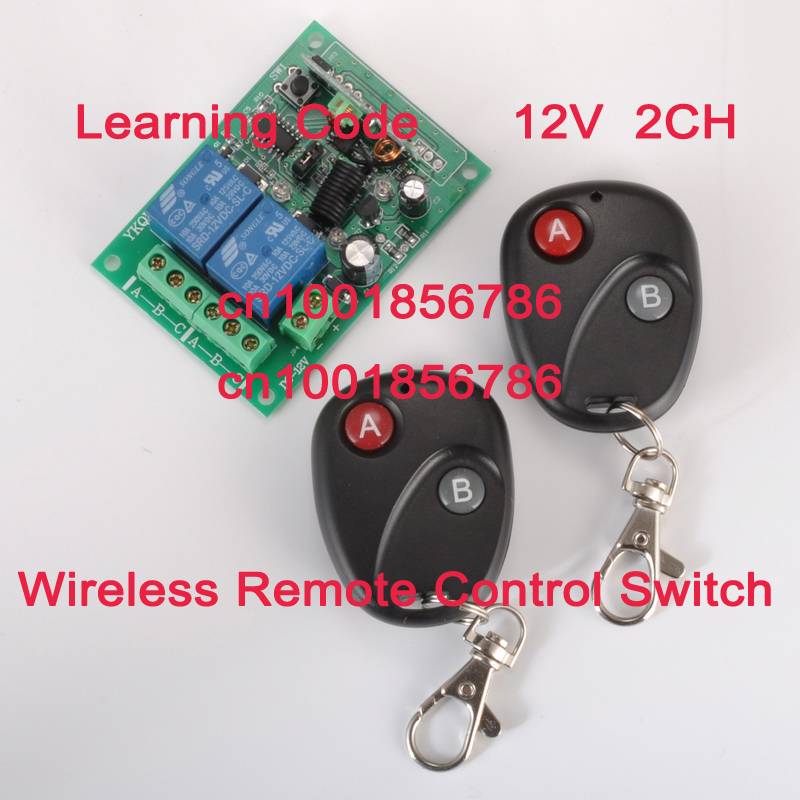 Free Shipping 12VDC 2CH Wireless Remote Control Switch Security System Latched/Toggle/Momentary Learning Code1Switch 2Controller<br><br>Aliexpress