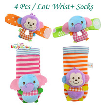 wholesale Baby Socks Beads Bracelet Foot Socks Toys baby rattlesGarden Protect Wrist Animal Wrist Stripe Foot ring Sock Set gift