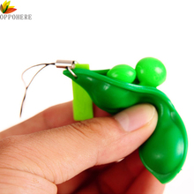 OPPOHERE New Creative Extrusion Pea Bean Soybean Edamame Stress Relieve Toy Keychain Cute (Random Color)