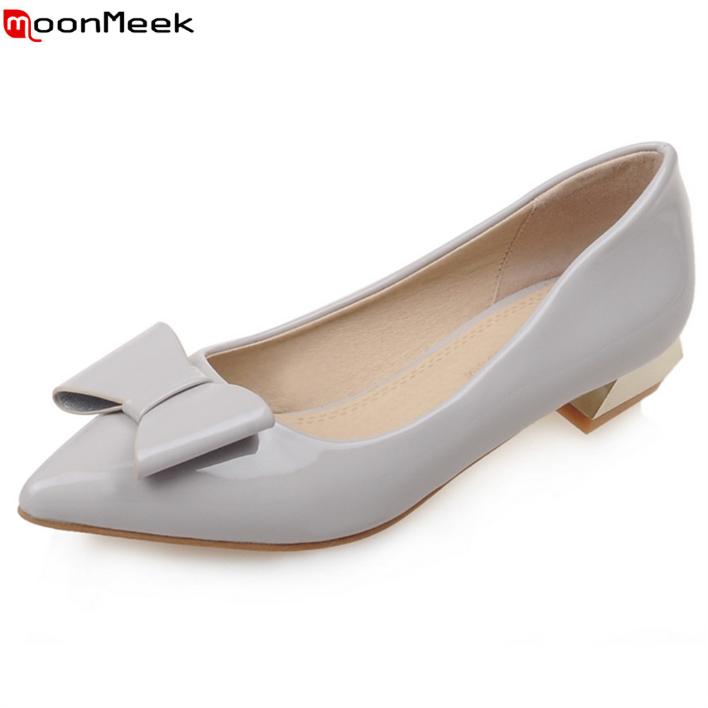 MoonMeek new hot 2018 pumps women shoes with butterfly knot sweet low heel slip on pointed toe simple elegant ladies shoes<br>