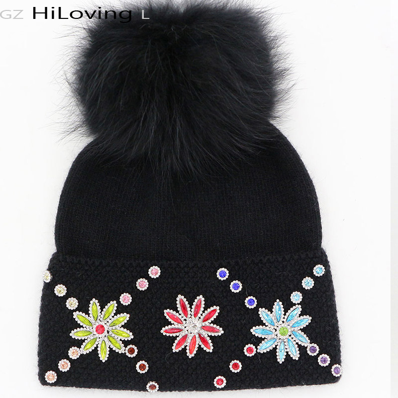 GZHilovingL Great Winter Womens Beanies With Fur Pompoms Luxury Floral Diamond Soft Warm Wool Beanies Gorros Caps Womens LadiesОдежда и ак�е��уары<br><br><br>Aliexpress