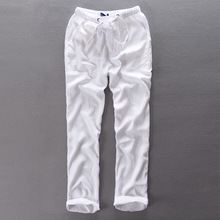 Men's Summer Casual Pants Natural Cotton Linen Trousers White Linen Elastic Waist Straight Joggers Pants Y234