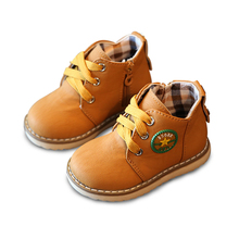 Children Shoes 2016 Autumn Winter New Boys Snow Shoes Girls Boots Skid Warm Breathable Lace-Up Children Martin Boots Size 21-30
