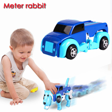 cute 14cm cool Automatic transform Dog car Vehicle Clockwork dog Wind up animal dog toy for children boy girl car toys for kids(China)
