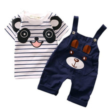 2017 Hot Selling Fashion Summer Children Comfy Kids Clothes Toddler Straps Set New Baby Boy Little Bear Stripe Short-Sleeve Set