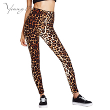 Young17 2016 autumn Elastic High Waist Leisure Leopard Pants Newest Women's Leopard Print skinny Trousers Ladies Leggings slim