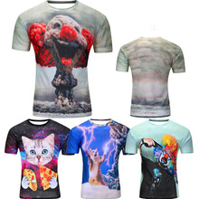 Mens T Shirts Short Sleeve 3D Prited O Neck Fashion Casual Clown Cat Thunder Summer Brand Clothing