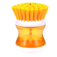 Hot Selling 1 Piece Kitchen Cleaning Brush Plastic With Detergent Liquid Container Wash Dish Bowl Pot Scrubber Cleaning Tools
