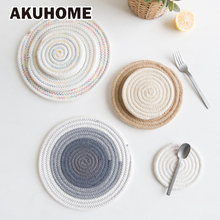 Soft Warm Cotton Thread Thicker Hand Made Cloth Spiral Colorful Insulation Pads Potholder Placemat(China)