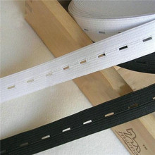 Craft DIY Sewing Accessories Button Hole Knit Elastic Band Ribbon Tape 20mm/2cm Wide White/Black Thread 10M Elastic Webbing(China)
