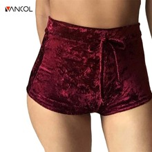 vancol 2017 ladies sexy mini shorts solid color grey fitness short pants women spring red velvet shorts short femme