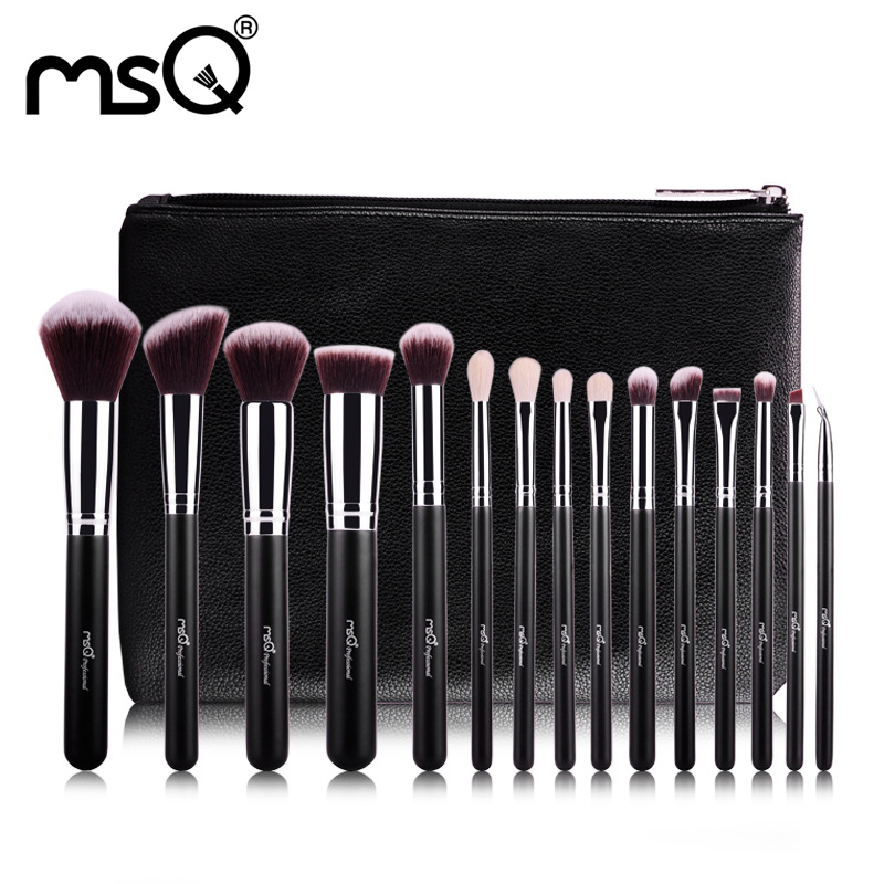 Makeup Brushes Set 15 PCs Brushes For Make Up Soft Hair Make Up Brush Fashion Eye Shadow Eyeliner Brush Kit With PU Leather Case<br>