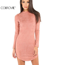COLROVIE Womens Sexy Dresses Party Night Club Dress Bodycon Dress Sexy Pink Mock Neck Curved Hem Velvet Bodycon Dress
