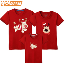 Family Look Christmas Family Matching Outfits T Shirt Mother Daughter Short Sleeve Dad Mom Baby Family Suit Father Son Clothes(China)