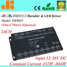 Free Shipping 24 Channels DMX Driver, Constant Current 350mA / 700mA opt. , 12V-36V RGB Controller DE8025