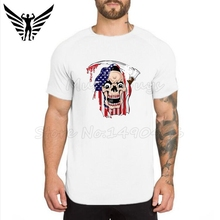 Fashion Mens T Shirts Male Personality skulls USA flag print Bodybuilding Fitness mens gyms Clothing Workout T-Shirt - Muscle Guys Gym Gear Store store