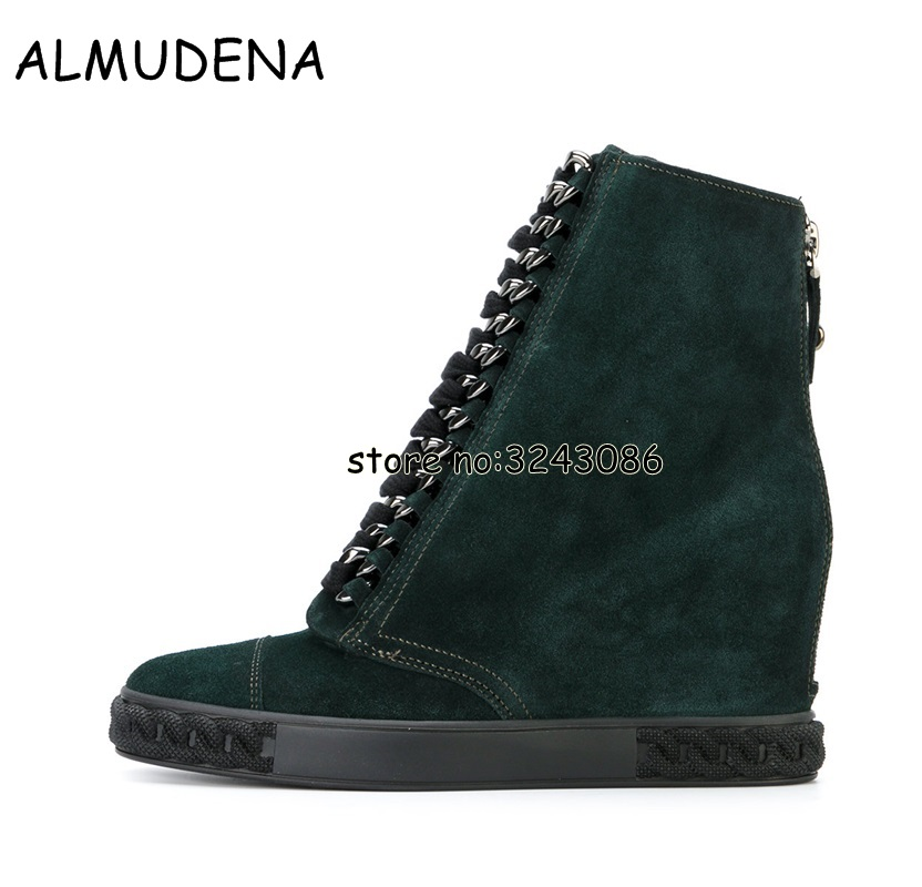 Metal Chain Woman Casual Outdoor Sneakers Suede Round Toe Platform Wedge Ankle Boots Lace Up Lady Height Increasing Shoes