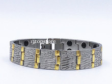 "Mens 14MM Titanium Magnetic Therapy Link Bracelet Negative Ion Germanium Power Health Wrist Band 8.5"" Golden Silver Tone"
