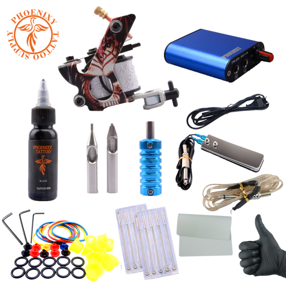 Complete Tattoo Kit Professional Beginner Machine Set 8 Wrap Coils Tattoo Gun Pigment Induction Tattoo Power Supply Set<br>