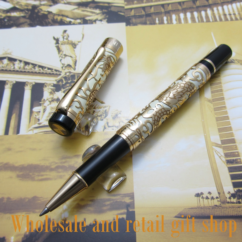 Free shipping 0.7MM perfect Kim Ho celluloid pen engraved of Gold and white roller pen<br>