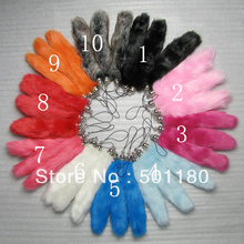 Free shipping colorful faux fur tail keychain(China)