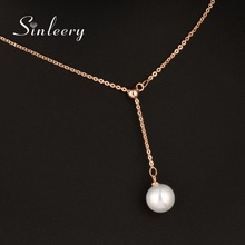 SINLEERY Fashion Simply White Simulated Pearl Pendant Necklace Rose Gold Color Adjustable Chain For Women Girl Xl614