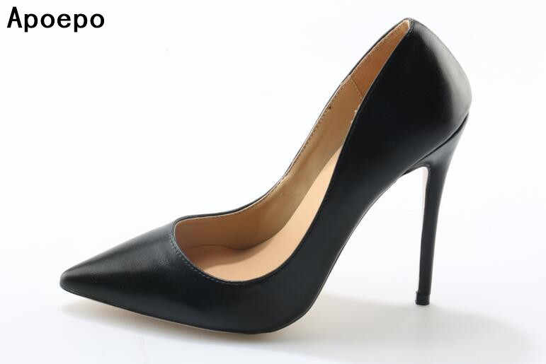 Apoepo pointed toe stilettos heels slip on shoes women black high heel dress shoes 10cm and 12cm  elegant heels concise style<br>