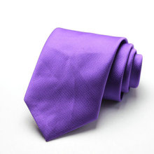 Free Shipping Cheap 2015 south korean silk commercial formal tie marriage tie 8cm tie purple fine stripe(China)