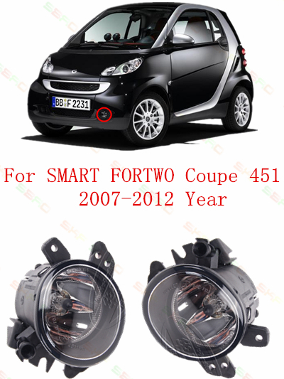 For smart fortwo coupe 451  2007/08/09/10/11/12    Fog Lights lamps car styling  Round<br>