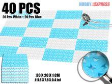 New 40 pcs Blue and White Combination Plastic Flooring Interlocking Mat Garden Tile Heart Pattern 30 x 20 cm KK1130