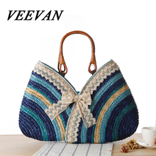 veevanv 2016 Summer Hot New Lace Bow straw bag color stripe hand woven bag handbag exquisite beach bag
