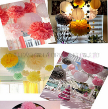 29 Colors available!! Tissue paper flower ball hanging wall decoration16inch(40cm) 4piece/lot paper pompoms party decorations