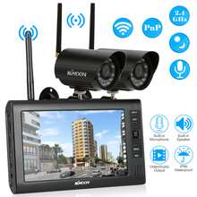 "KKmoon 7"" TFT Digital LCD Display Monitor 2 Channel Quad DVR 2PCS IR Night Vision Waterproof Camera 2.4GHz Wifi Support TF Card(China)"