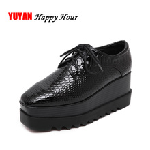 New 2017 Spring and Autumn Luxury Height Increasing Women Shoes Flat Platform Brand Fashion Womens Flats Shoes Black Y069(China)