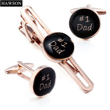 Rose Gold Color Cufflinks Tie Clip Set Fashion Black Enamel NO.1 Dad Cuff links Best Gift for Father(China)