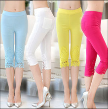 2015 women fashion pant crochet diamond thin outer wear pants feet bottoming seven points, pencil pants