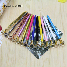 1 Pcs 2017 New Colorful Creative big Crystal Pen Diamond Ballpoint Pens Stationery Ballpen 10 Colors(China)
