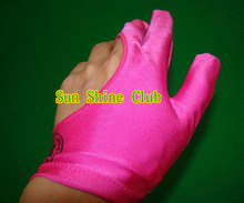 Free shipping 5pcs/lot high Elasticity 3 finger Pink billiard gloves/Pool Table Snooker billiard table Gloves(China)
