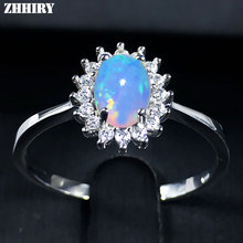 ZHHIRY For Woman Genuine Natural Fire Opal Ring 925 Sterling Silver Rings Color Gemstone Fine Jewelry(China)