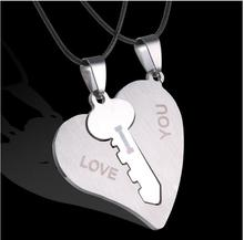 2016 Korean Couple Necklaces Set Pendant Necklace Engrave I Love You Matching Hearts Key 316L Stainless Steel Couple Puzzles