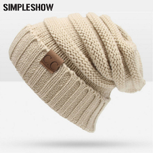 2017 Fashion Winter Hat For Women Skullies Beanies Knitted Caps Warm Caps Female Male Unisex Beanies Letter Solid Bonnets Hats