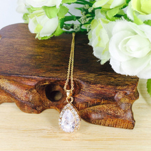 High quality fashion woman pendant necklace jewelry  vintage long chain cz stone neckless zircon glass charm necklace