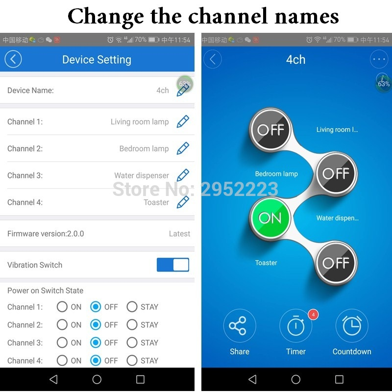 Sonoff 4CH Itead 4 channels Smart Home Remote Control Wireless Automation Modules on/off  wifi via Mobile APP Timer power Switch