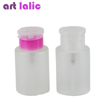 Artlalic 210ml Empty Pump Dispenser Bottle Acetone Polish Remover Alcohol Liquid Oil Nail Art Beauty Tool Equipment Pink/ Clear