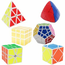 Treeby Brand 6 Pcs Original ShengShou Magic Cube (Include Skewb, Megaminx, Pentagon, Mirror SQ1 Stress Reliever Fidget Cube Toys