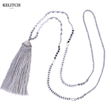 KELITCH Jewelry 1Pcs 2017 Newest Statement Black White Crystal Beaded Long Chain Tassel Handmade Bohemian Friendship Necklace(China)
