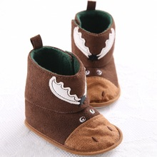 Fashion Cow Cotton Toddler Brown Newborn Baby Moccasin Boots Girl Kids First Walker Baby Shoes Infant Hard Bottom Booties Boot