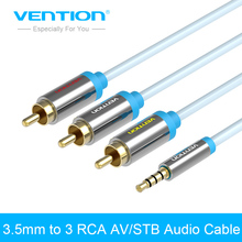 Vention Gold Plated 3.5mm Jack to 3 RCA Audio Cable 1.5 m/2m male to male for Digital Camera TV Box(China)