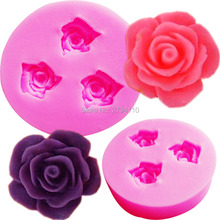 M516 DIY 3D Silicone Cake Toppers Chocolate Mould Soap 3 Rose Flower Sugarcraft fondant Decorating tools Mold 4.6*1cm